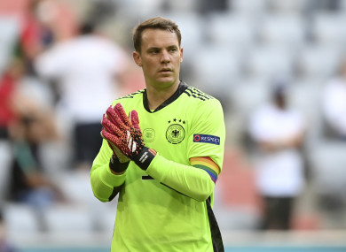Manuel Neuer has worn the rainbow armband in Germany's two games so far.