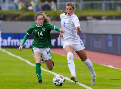 Ireland's Heather Payne with Karólína Lea Vilhjálmsdóttir of Iceland.