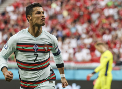 Portugal's Cristiano Ronaldo celebrates after scoring.