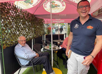 Phil and Paul Flannery, happy to welcoming customers back to their pub earlier today.