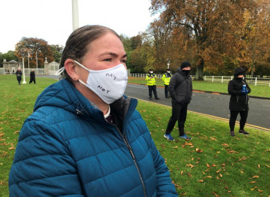 File photo: Majella Connolly, an adoptee from St Patrick's Mother and Baby Home, joins protesters in Dublin in October 2020.