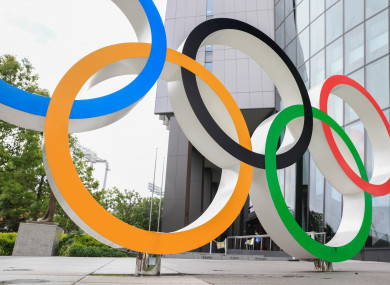 Olympic Rings installation in front of Japan Olympic Museum in Shinjuku.