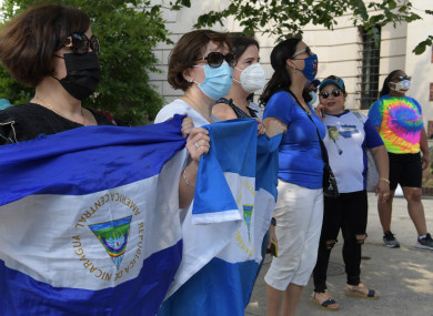 Nicaraguans protest against the dictatorship of the President Ortega Murillo during a rally in front of Embassy of Nicaragua in Washington.
