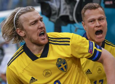 Emil Forsberg celebrates his goal.