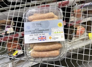 Sausages in a supermarket basket in an M&S store in Belfast.