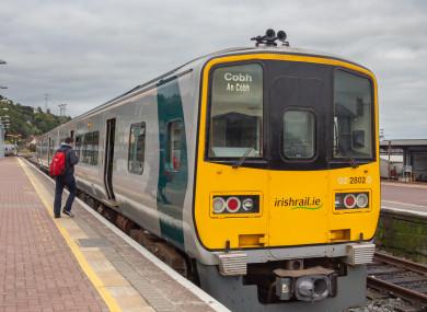 A passenger train at Cobh, Co. Cork.
