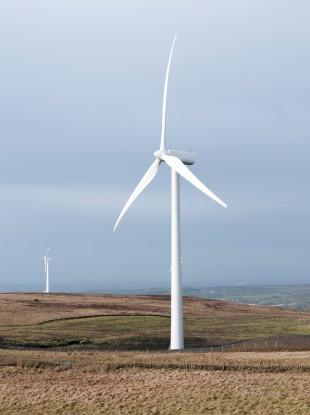 File photo of wind turbines outside Ballyclare in Co Antrim.