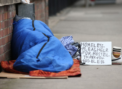 A homeless person on Waterloo Road, Dublin (file photo)