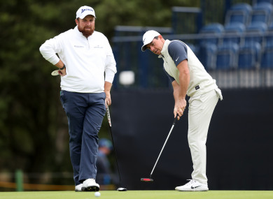 Shane Lowry and Rory McIlroy practicing together (file pic).
