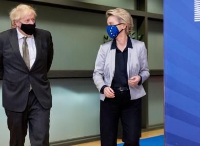 European Commission President Ursula von der Leyen (R) and British Prime Minister Boris Johnson ahead of a meeting in December last year.