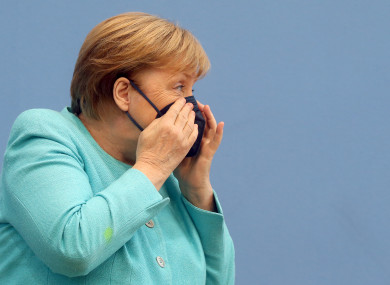 Angela Merkel at a press conference today.