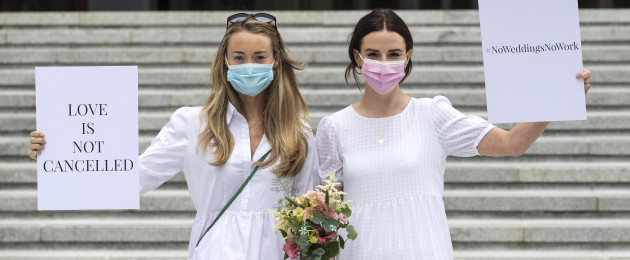 Brides-to-be Ali O'Mara and Orla O'Hundhaigh outside Government Buildings today.