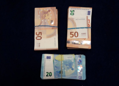 Gardaí provided this photo of cash seized in one of the raids.