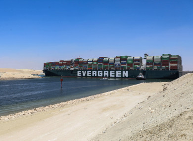 The Ever Given container ship on the Suez Canal