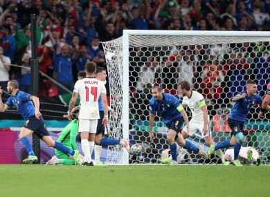 Italy players celebrate Bonucci's equaliser.