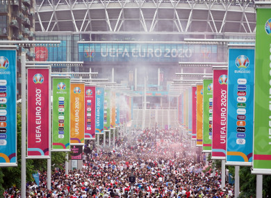 England fans along Wembley Way ahead of the Uefa Euro 2020 Final.