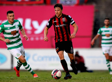 Keith Buckley in action for Bohs against Rovers.