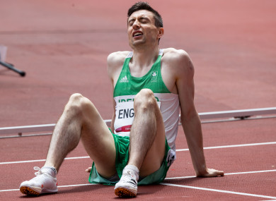 English finished fourth in his 800m heat.