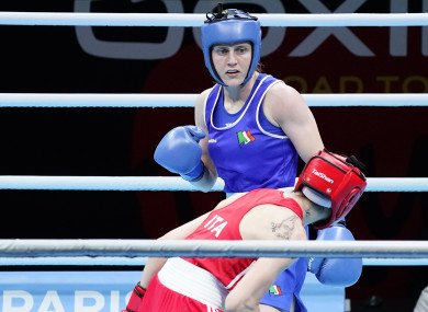 Michaela Walsh in action against Irma Testa in the final of Olympic qualification.
