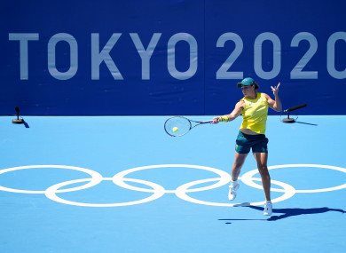 Ash Barty in action in Tokyo.