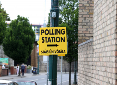 A polling station sign in Ranelagh this morning.