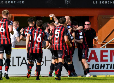 Bohs players celebrate Ross Tierney's goal.
