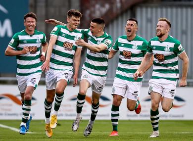 Rovers' Sean Gannon celebrates scoring their second goal with teammates.