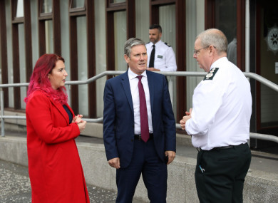 Sir Keir Starmer and shadow secretary of state for Northern Ireland Louise Haigh with PSNI Chief Constable Simon Byrne in Belfast.