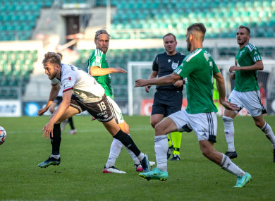 Matchwinner Will Patching in action against Levadia Tallinn.