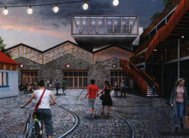 Visualisation of the Piazza in the proposed plans for Dalkey Tramyard.