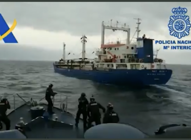 An armed Spanish Customs team about to board the Natalia.