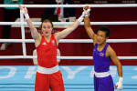 Ireland's Kellie Anne Harrington celebrates victory over Thailand's Sudaporn Seesondee  on Thursday