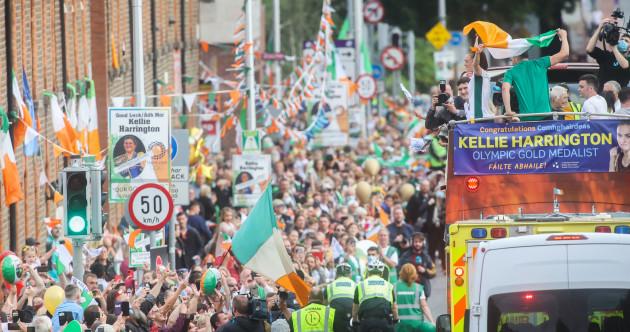 Cheers on the streets of north Dublin city as Olympic star Kellie Harrington arrives home