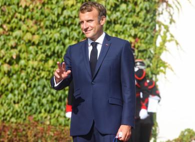 French President Emmanuel Macron at Aras an Uachtarain today.