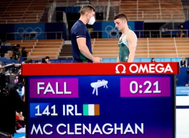 Ireland's Rhys McClenaghan speaking with his Coach Luke Carson.