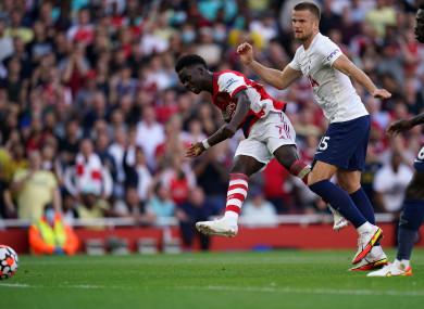 Bukayo Saka scored Arsenal's third goal yesterday.