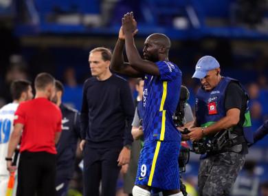 Romelu Lukaku salutes Chelsea's fans.
