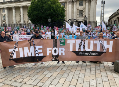 The Time For Truth campaign demonstration outside the courts in Belfast on a national day of action across Ireland against the British government's proposals for dealing with the past.
