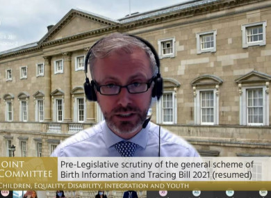 Children's Minister Roderic O'Gorman discussing the Birth Information and Tracing Bill 2021 at an Oireachtas Committee today