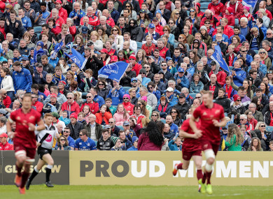 Leinster and Munster fans watching a Pro14 semi-final in 2019.