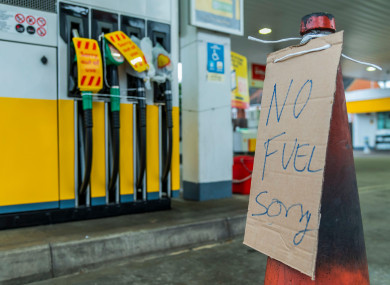 A 'no fuel' sign outside a Shell petrol station near Clapham, South London today.