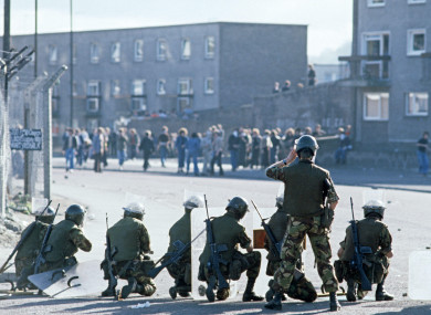 British Army soldiers on the streets of Derry in 1975.