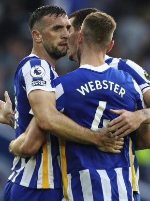 Shane Duffy with Brighton defensive colleagues Adam Webster and Lewis Dunk.