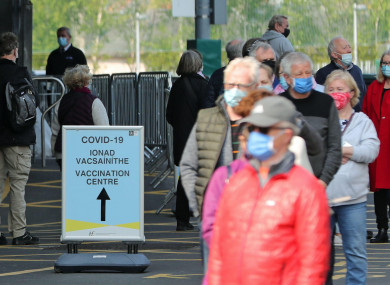 People queuing outside the Covid-19 vaccination centre at the Aviva Stadium in Dublin in April.