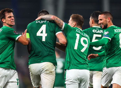 Celebrations for the Ireland players after the own goal that earned them a draw against Serbia.