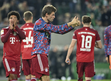 Thomas Mueller celebrating after the game.