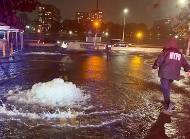 Flooding on New York York's Upper East Side